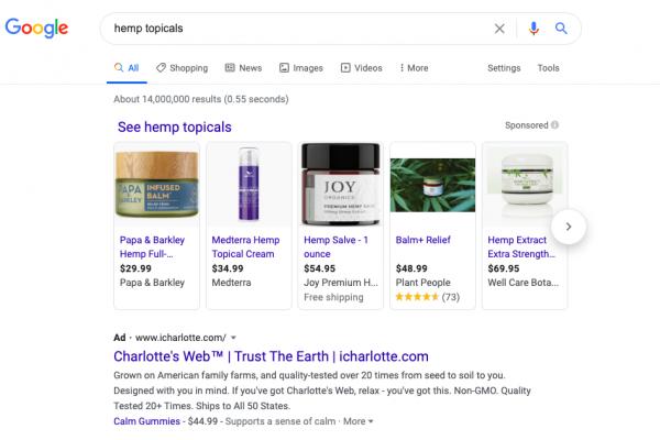 CBD Paid Search Ads Using Hemp Keywords