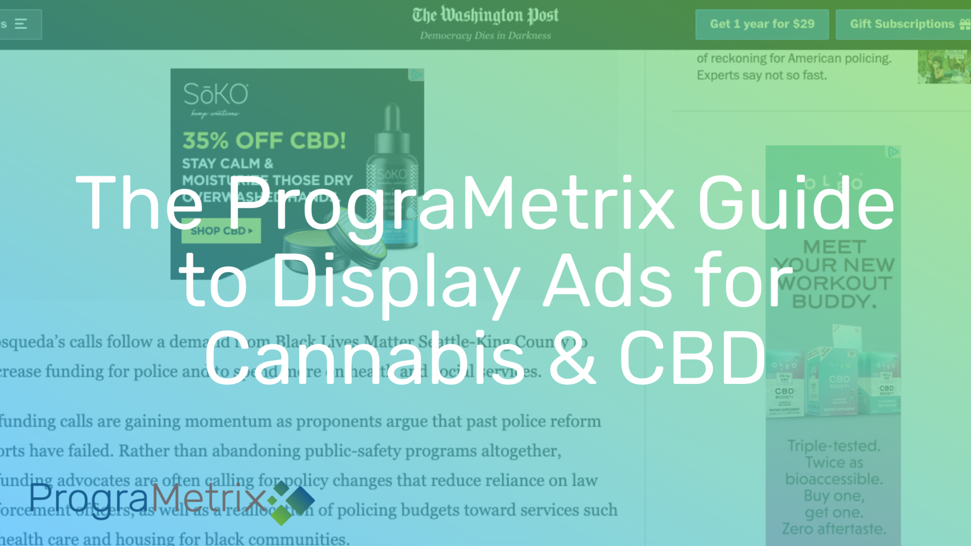 Display advertising for cannabis and CBD brands, with ad examples